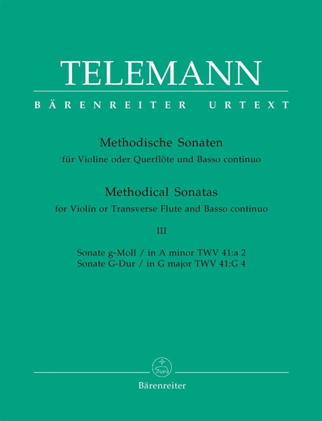 TELEMANN - 12 Methodische Sonaten - Bd. 3 - Flute Violine u. Bc - Partition - di-arezzo.co.uk