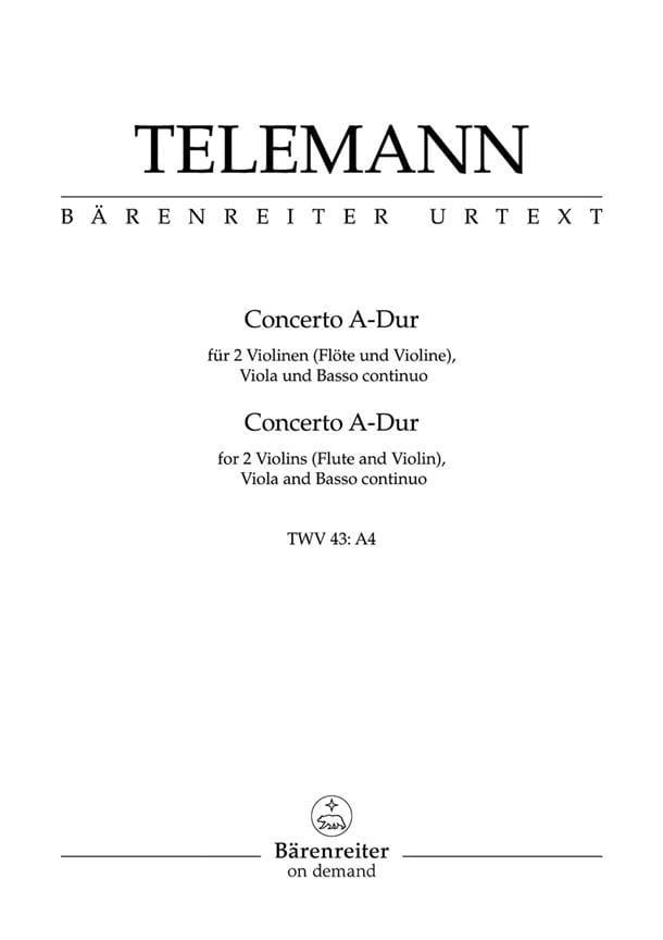 Concerto A-Dur TWV 43 : a4 -Partitur + Stimmen - laflutedepan.com
