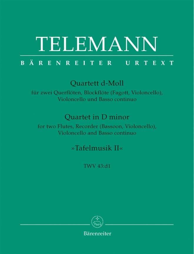 Quartett d-moll TWV 43 : d1 - 2 Querflöten Blockflöte Cello BC - laflutedepan.com