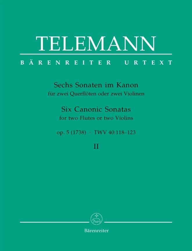 TELEMANN - 6 Sonaten im Kanon op. 5 Bd. 2 - 2 Flöten o. Violinen - Partition - di-arezzo.co.uk