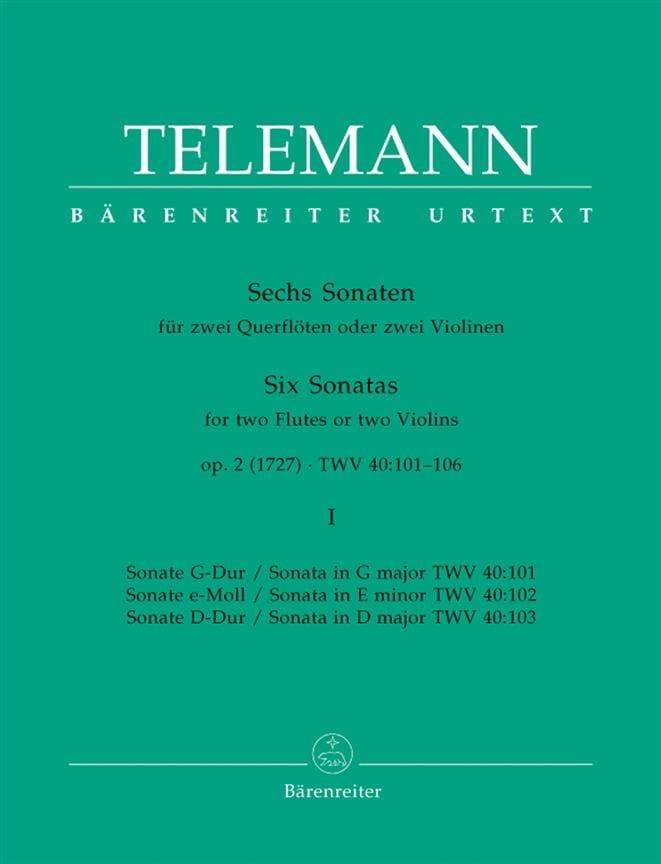 TELEMANN - 6 Sonatas op. 2 Volume 1 for 2 Flutes or 2 violins - Partition - di-arezzo.co.uk