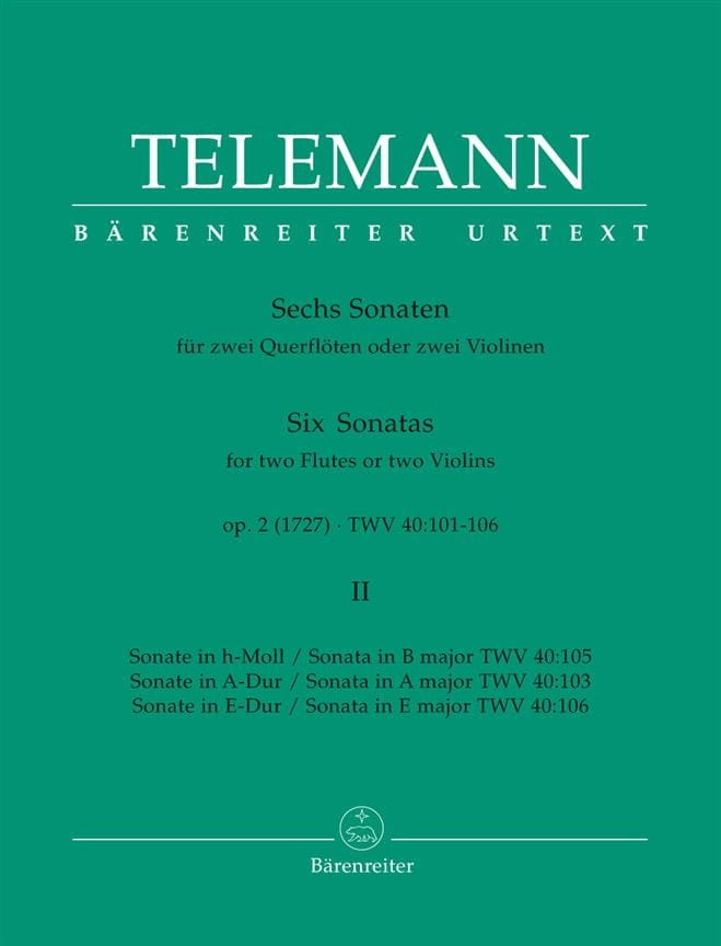 TELEMANN - 6 Sonatas op. 2 Volume 2 for 2 Flutes or 2 violins - Partition - di-arezzo.co.uk