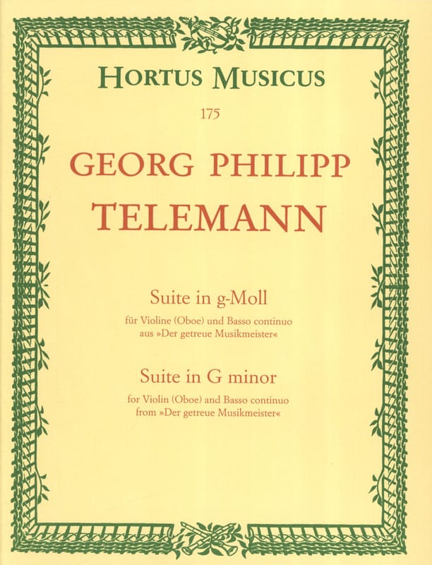 TELEMANN - Suite in g-Moll - Partition - di-arezzo.fr