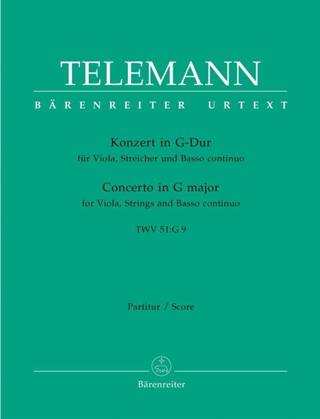 Concerto Pour Alto En Sol M.Twv 51: G9 - Conducteur - laflutedepan.com