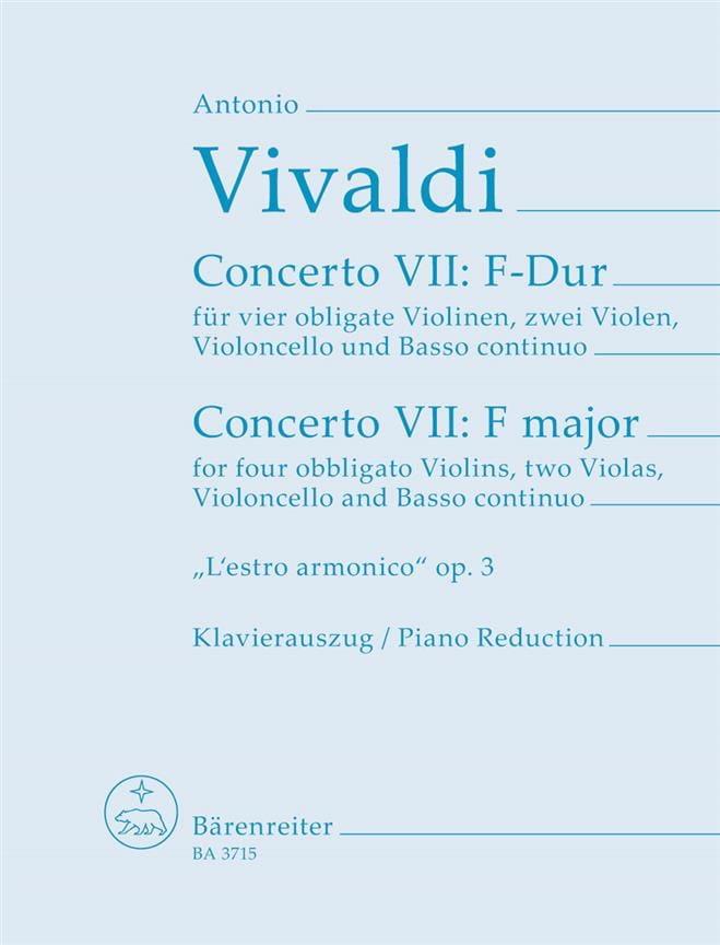 VIVALDI - Concerto Nr. 9 F-Dur - 4 Violinen Klavier - Partition - di-arezzo.com