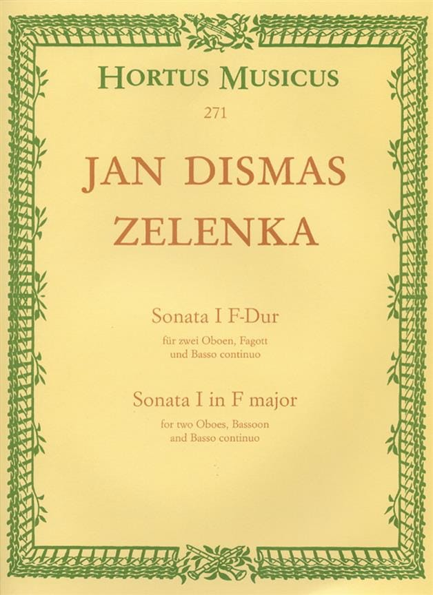 Jan Dismas Zelenka - F-Dur Sonate Nr. 1 - 2 Oboen Fagott BC - Partition - di-arezzo.es