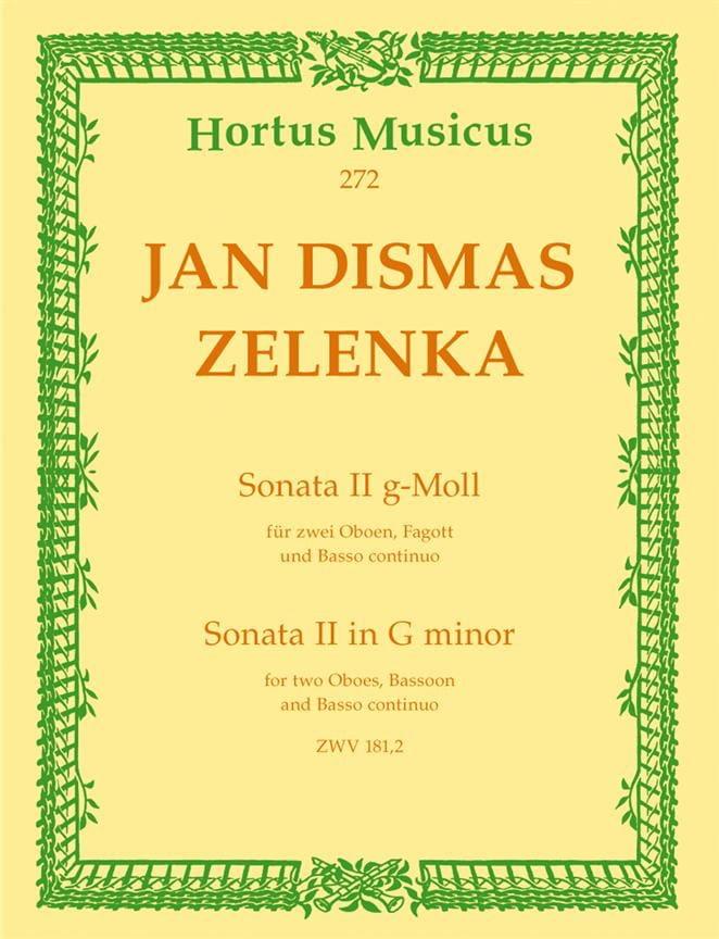 Jan Dismas Zelenka - Sonate Nr. 2 G-Mull - 2 Oboen Fagott BC - Partition - di-arezzo.es