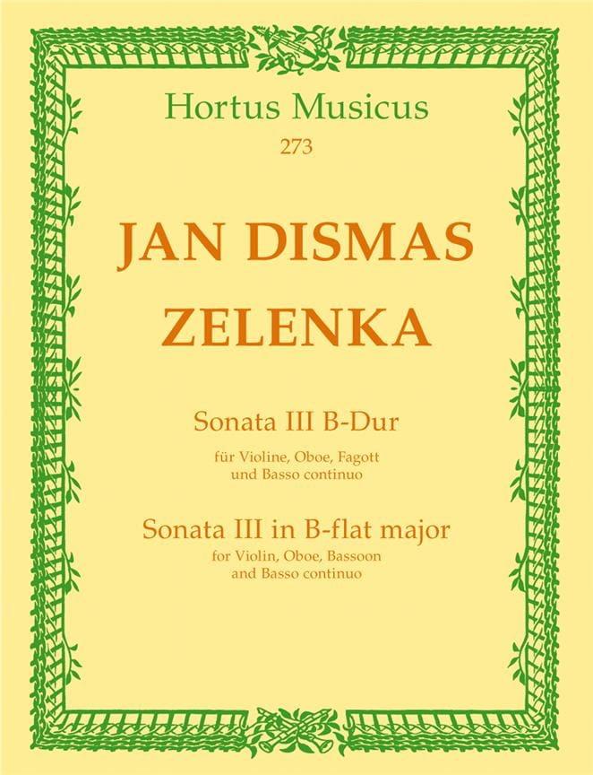 Sonate Nr. 3 B-Dur - 2 Oboen Fagott BC - ZELENKA - laflutedepan.com