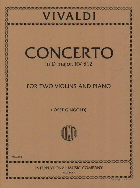 VIVALDI - Concerto D major RV 512 - 2 Violins piano - Partition - di-arezzo.com