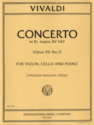 VIVALDI - Concerto Bb major RV 547 - Violin cello piano - Partition - di-arezzo.com