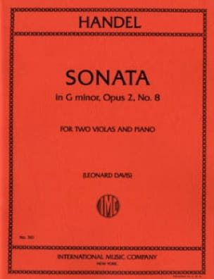 HAENDEL - Sonata G minor op. 2 n ° 8 - 2 Violas piano - Partition - di-arezzo.com