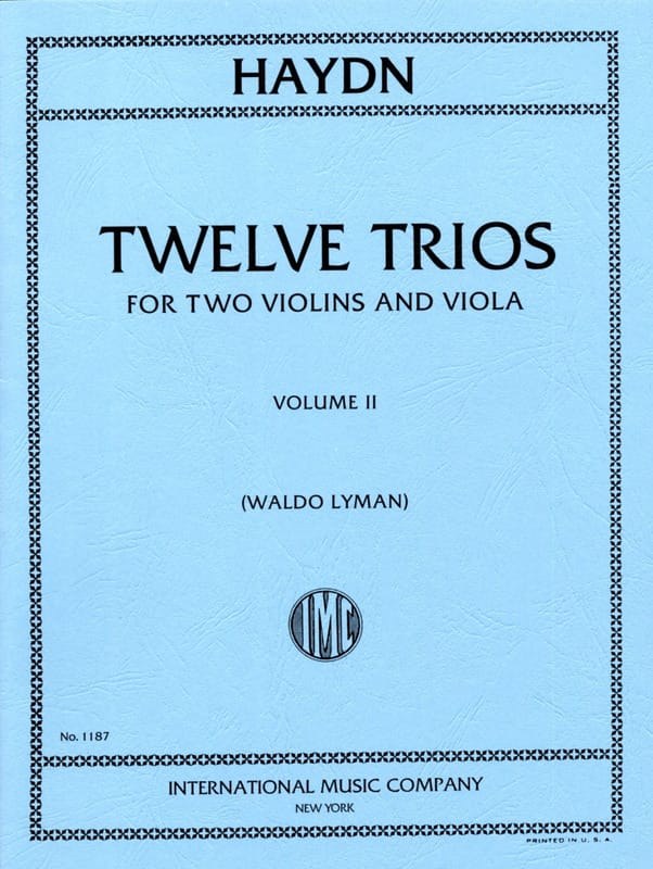 HAYDN - 12 Trios - Volume 2 - 2 Violins Viola - Partition - di-arezzo.co.uk