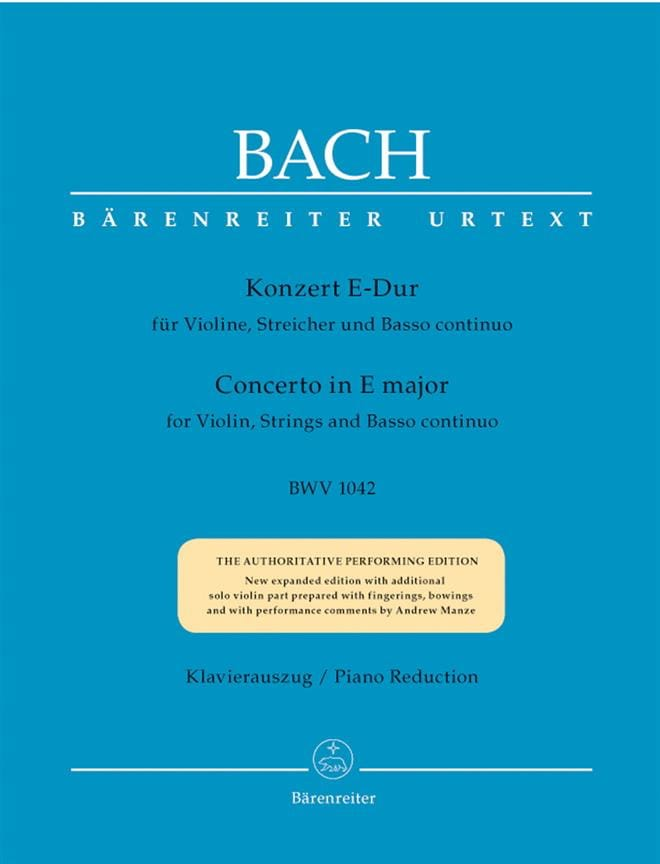 BACH - Concerto in E Major BWV 1042 - Partition - di-arezzo.co.uk