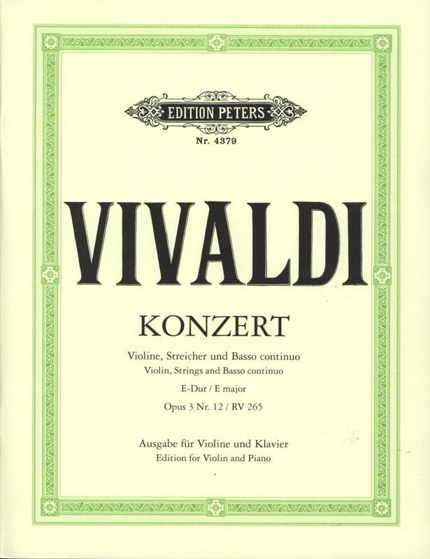Concerto mi majeur op. 3 n° 12 - RV 265 - VIVALDI - laflutedepan.com