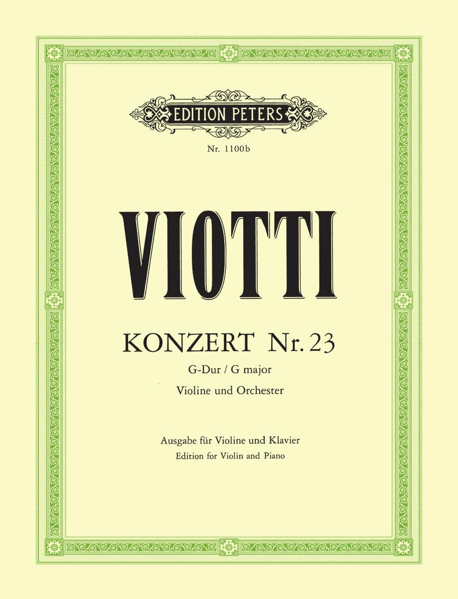 Giovanni Battista Viotti - Violin Concerto No. 23 G major - Partition - di-arezzo.co.uk