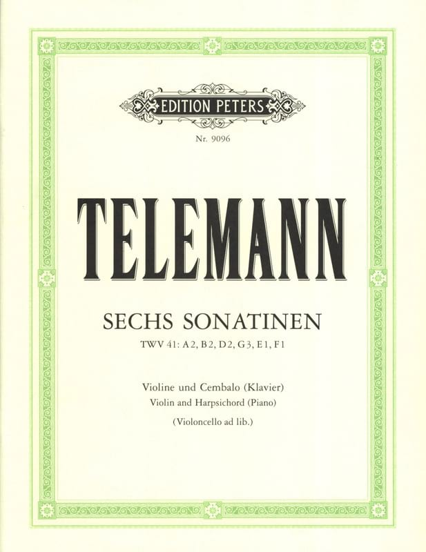 TELEMANN - 6 Sonatines - Partition - di-arezzo.co.uk