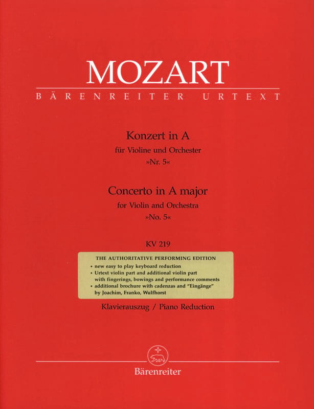 MOZART - Concerto No. 5 The Major KV 219 - Partition - di-arezzo.com