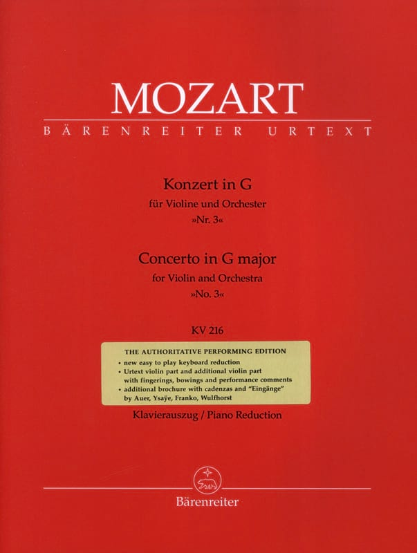 MOZART - Concerto No. 3 G Major Sol KV 216 - Partition - di-arezzo.co.uk