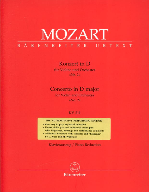 MOZART - Violin Concerto No. 2 D Major KV 211 - Partition - di-arezzo.co.uk