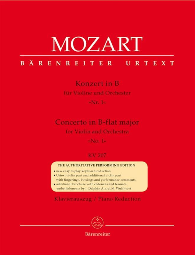 MOZART - Violin Concerto No. 1 B flat major KV 207 - Partition - di-arezzo.co.uk
