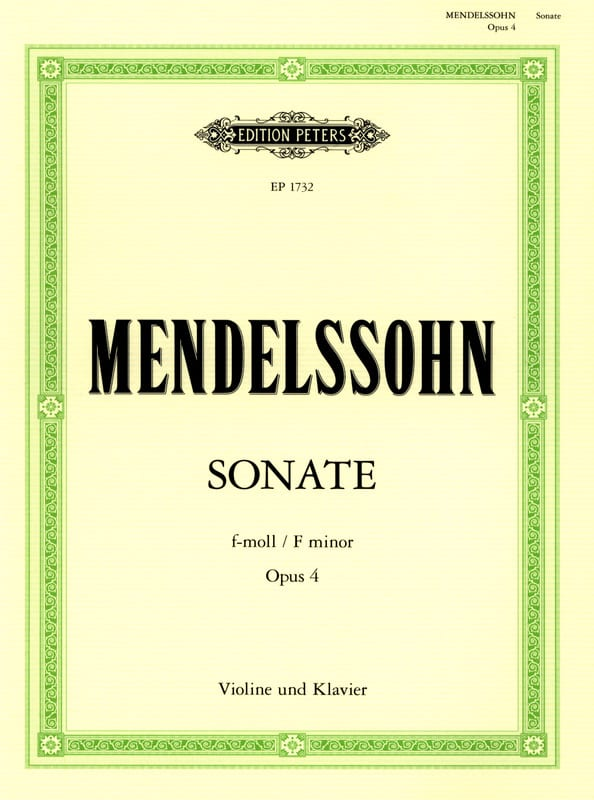 MENDELSSOHN - Sonata f minor op. 4 - Partition - di-arezzo.com