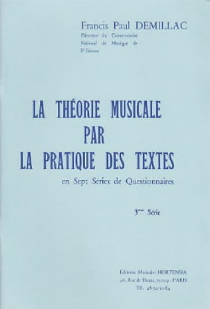 Francis-Paul Demillac - The musical theory ... - 3rd series - Partition - di-arezzo.co.uk
