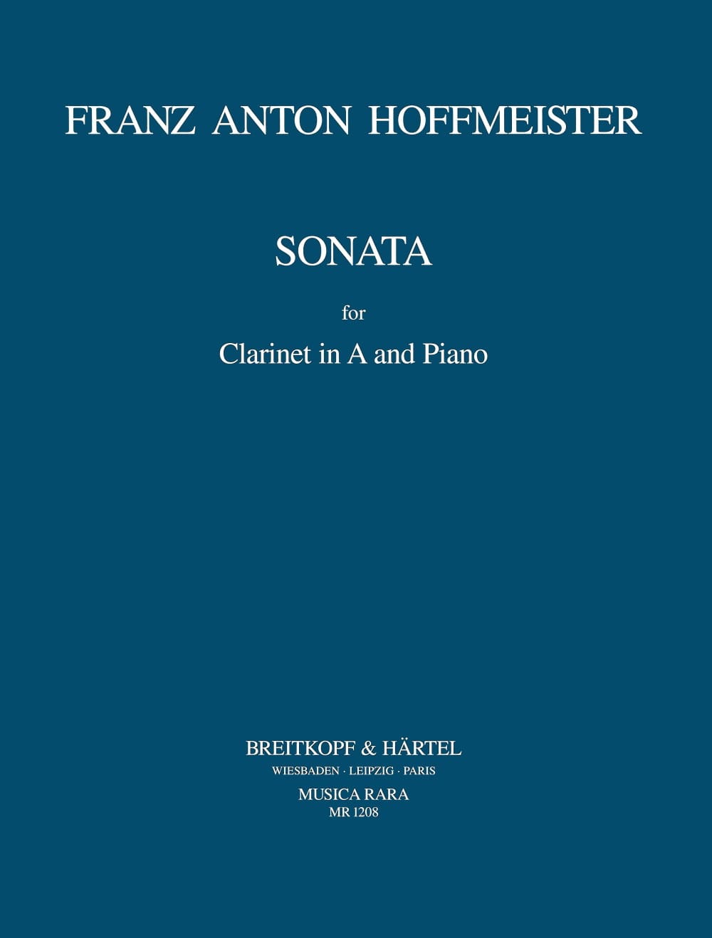Sonata - Clarinet in A and piano - HOFFMEISTER - laflutedepan.com
