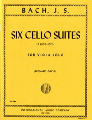 BACH - 6 Cello Suites Transcribed For Alto Bwv 1007-1012 Davis - Partition - di-arezzo.com