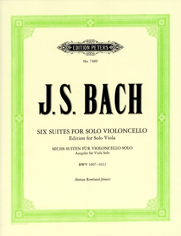 BACH - 6 Suites For Cello Only Transcribed For Viola - Partition - di-arezzo.co.uk