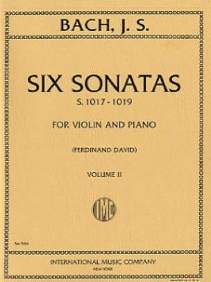 6 Sonatas, Vol 2 BWV 1017-1019 - BACH - Partition - laflutedepan.com