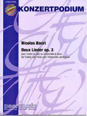 2 Lieder op. 3 - Nicolas Bacri - Partition - Violon - laflutedepan.com
