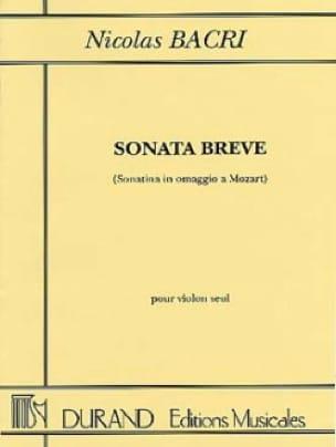 Sonata Breve op. 45 - Nicolas Bacri - Partition - laflutedepan.com