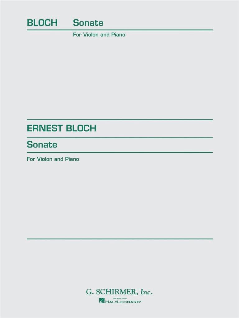 Ernest Bloch - Sonata for violin and piano - Partition - di-arezzo.co.uk