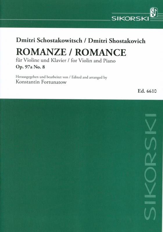 CHOSTAKOVITCH - Romance op. 97a, No. 8 - Partition - di-arezzo.es