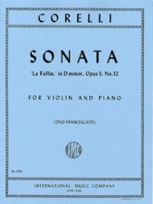 CORELLI - Sonata la Follia op. 5 n ° 12 - Partition - di-arezzo.co.uk