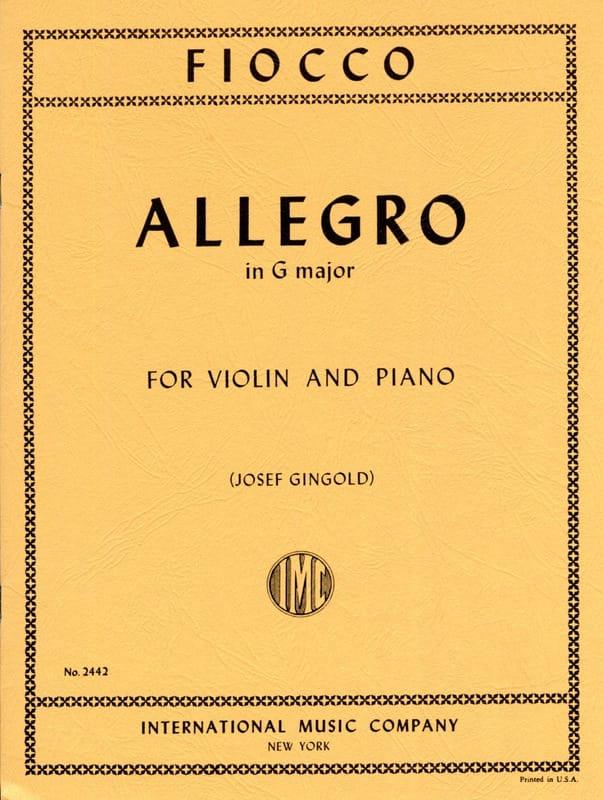 Joseph Hector Fiocco - Allegro - Partition - di-arezzo.co.uk