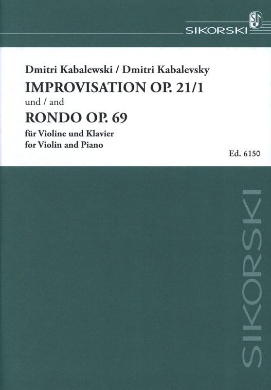 Dimitri Kabalevski - Improvisación op. 21 No. 1 / Rondo op. 69 - Partition - di-arezzo.es