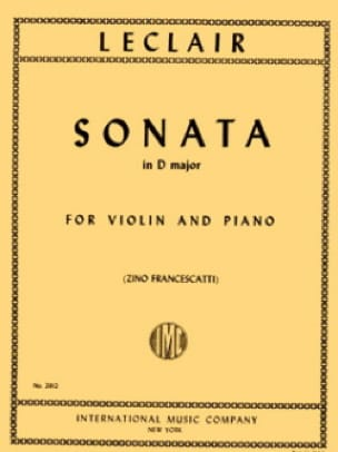 Jean-Marie Leclair - Sonata in D major - Partition - di-arezzo.co.uk