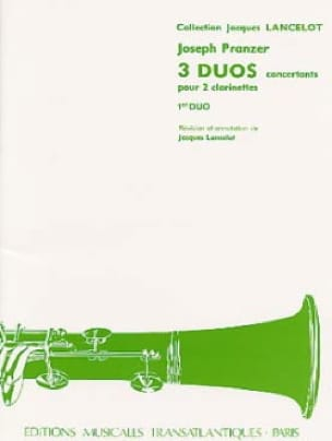 Joseph Pranzer - 3 Concert Duets - 1st Duet for 2 clarinets - Partition - di-arezzo.co.uk