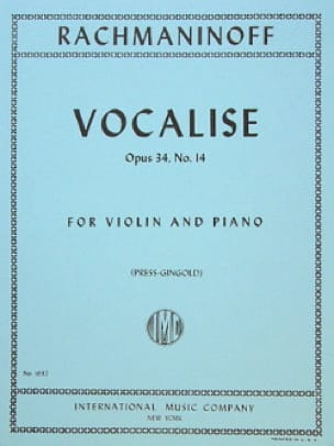 RACHMANINOV - Vocalise op. 34 n ° 14 - Violin - Partition - di-arezzo.co.uk