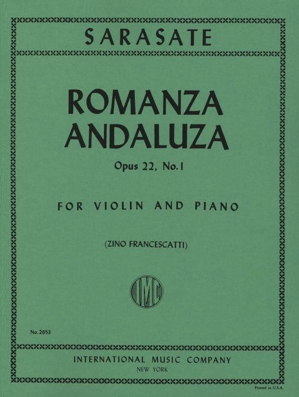 Pablo de Sarasate - Romanza Andaluza op. 22 n ° 1 - Partition - di-arezzo.co.uk