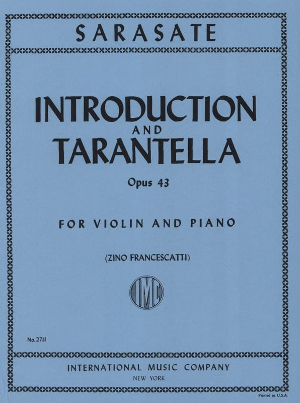 Pablo de Sarasate - Introduction and Tarantella op. 43 - Partition - di-arezzo.co.uk