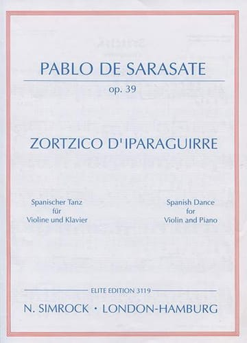 Zortzico d'Iparaguirre op. 39 - SARASATE - laflutedepan.com