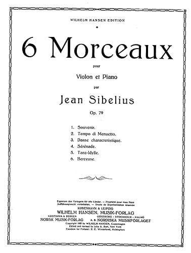 Berceuse op. 79 n° 6 - SIBELIUS - Partition - laflutedepan.com