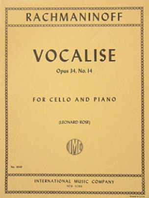 RACHMANINOV - Vocalise op. 34 n ° 14 - Cello - Partition - di-arezzo.co.uk