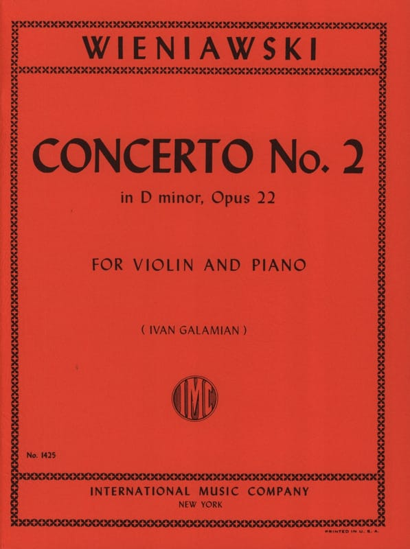 WIENIAWSKI - Concerto No. 2 D minor op. 22 - Violin - Partition - di-arezzo.co.uk