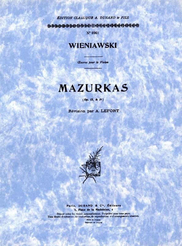 WIENIAWSKI - Mazurkas op. 12 y op. 19 - Partition - di-arezzo.es