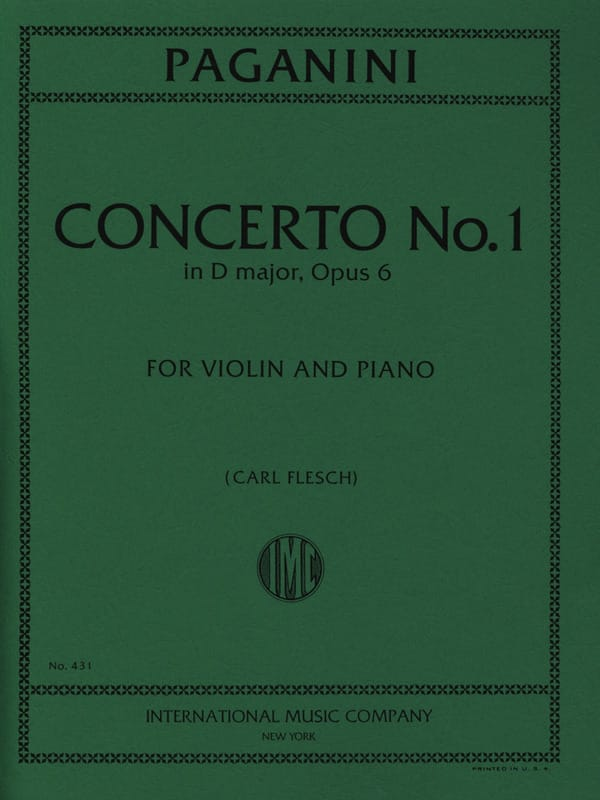 Niccolò Paganini - Concerto No. 1 in D major, op. 6 Flesch - Partition - di-arezzo.co.uk