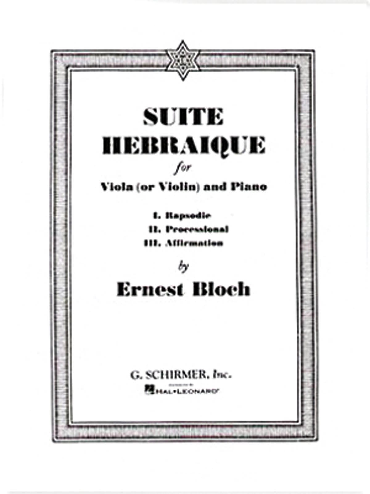 Ernest Bloch - Suite hebrea - Partition - di-arezzo.es