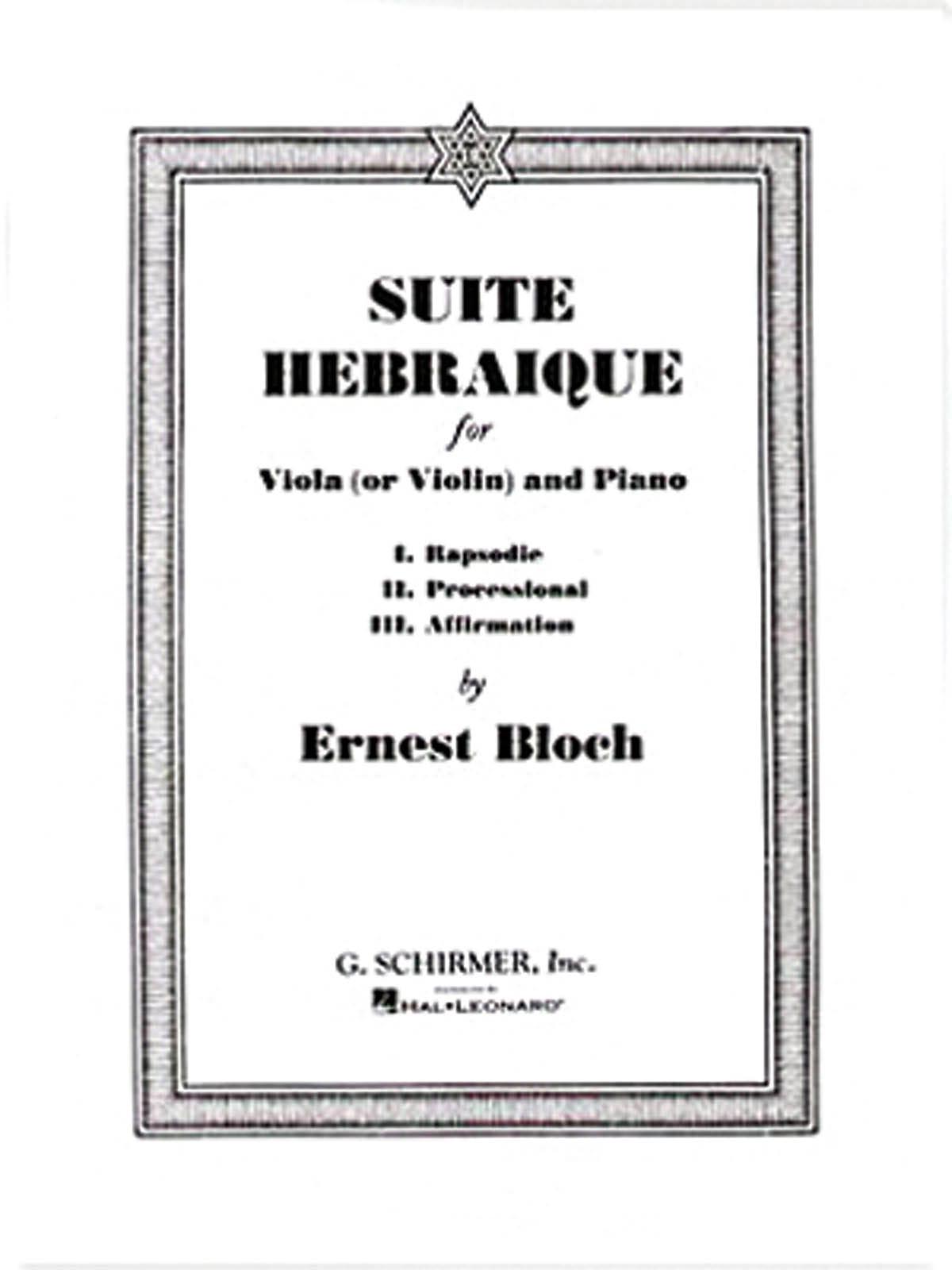 Suite hébraïque - BLOCH - Partition - Alto - laflutedepan.com